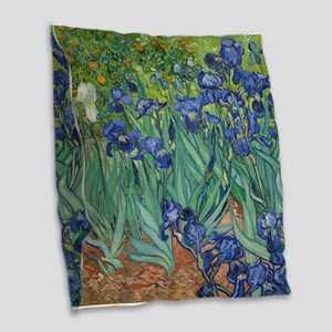 Irises by Vincent Van Gogh Burlap Throw Pillow