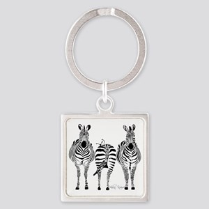 Zebra Power Square Keychain