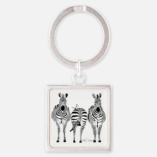 Zebra Power Square Keychain