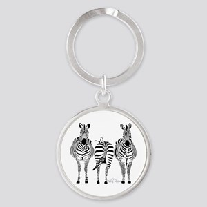 Zebra Power Round Keychain