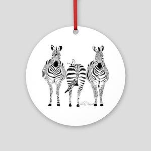 Zebra Power Round Ornament