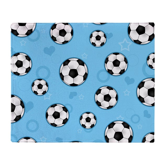 Cute Soccer Ball Print Blue Throw Blanket On Cafepresscom