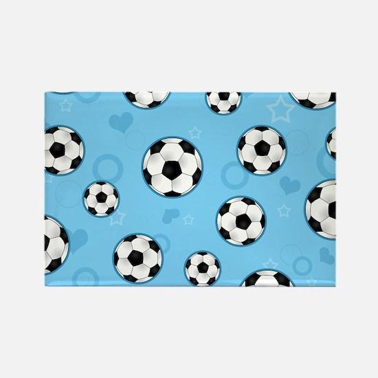 Cute Soccer Ball Print - Blue Magnets