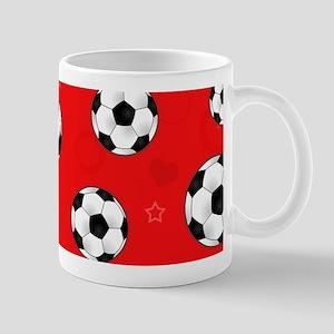 Cute Soccer Ball Print - Red Mugs