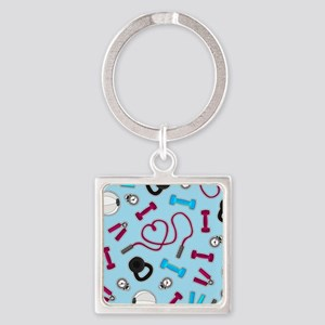 Fitness Love Pattern Blue and Purple Keychains