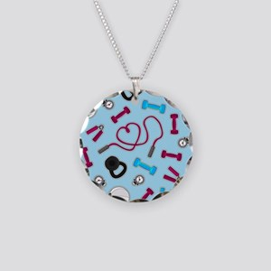 Fitness Love Pattern Blue and Purple Necklace