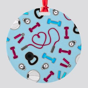 Fitness Love Pattern Blue and Purple Ornament