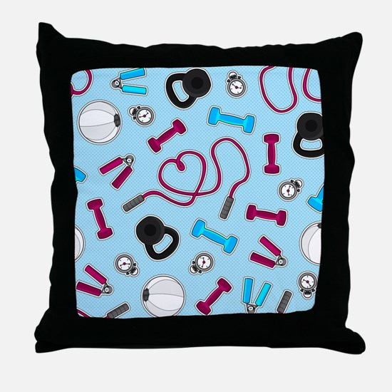 Fitness Love Pattern Blue and Purple Throw Pillow