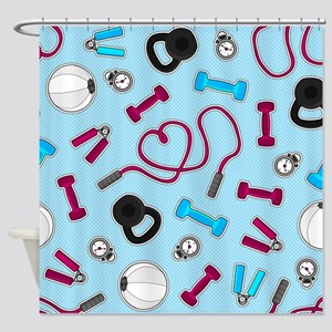 Fitness Love Pattern Blue and Purple Shower Curtai