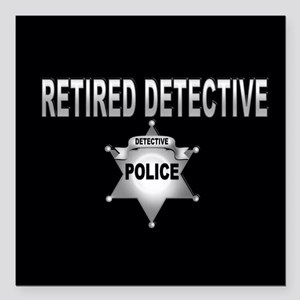 "Retired Dective Square Car Magnet 3"" x 3"""