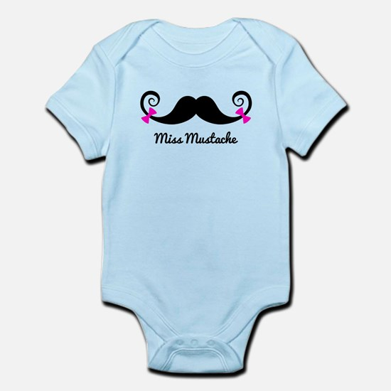 Miss Mustache design with pink bows Body Suit