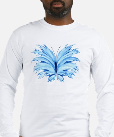 Blue Butterfly Long Sleeve T-Shirt