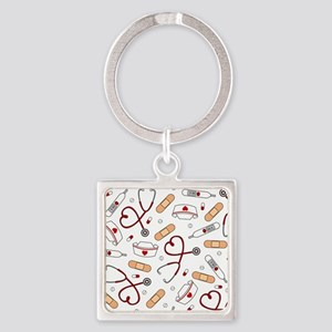 Cute Nurse Love Pattern White Keychains