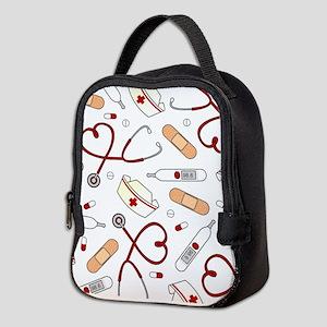 Cute Nurse Love Pattern White Neoprene Lunch Bag