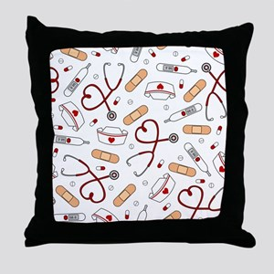 Cute Nurse Love Pattern White Throw Pillow