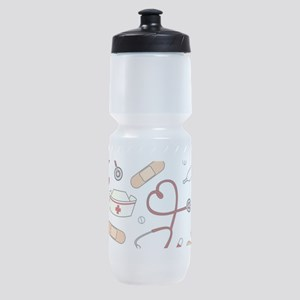 Cute Nurse Love Pattern White Sports Bottle