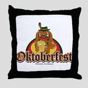 Oktoberfest Doxie Beer Throw Pillow