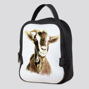 Watercolor Goat Farm Animal Neoprene Lunch Bag