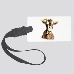 Watercolor Goat Farm Animal Large Luggage Tag