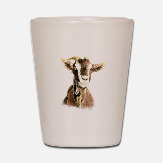 Watercolor Goat Farm Animal Shot Glass