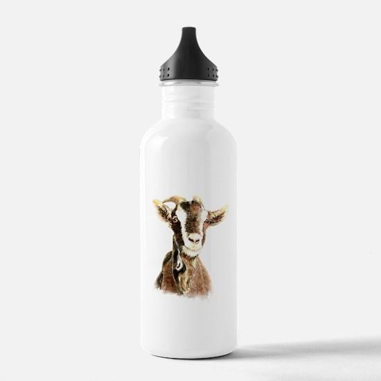 Watercolor Goat Farm Animal Water Bottle