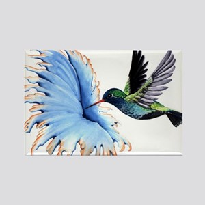 Hummingbird Blue Flower Magnets