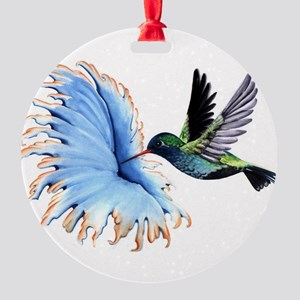 Hummingbird Blue Flower Ornament