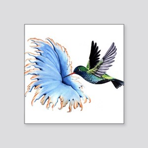 Hummingbird Blue Flower Sticker