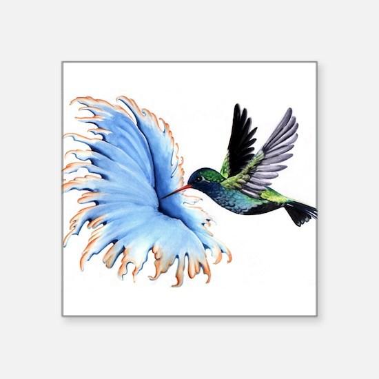 Hummingbird Blue Flower Sticker