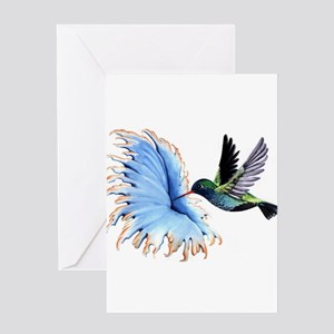 Hummingbirds greeting cards cafepress hummingbird blue flower greeting cards m4hsunfo