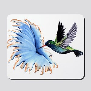 Hummingbird Blue Flower Mousepad