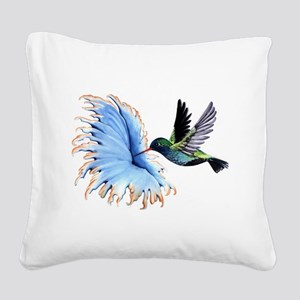 Hummingbird Blue Flower Square Canvas Pillow