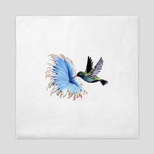 Hummingbird Blue Flower Queen Duvet