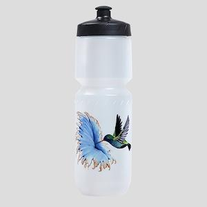 Hummingbird Blue Flower Sports Bottle