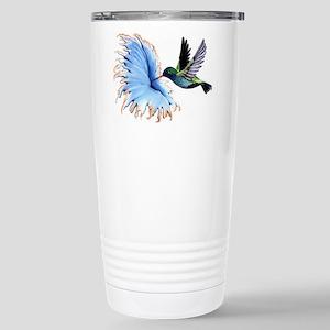 Hummingbird Blue Flower Travel Mug