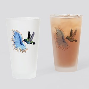 Hummingbird Blue Flower Drinking Glass