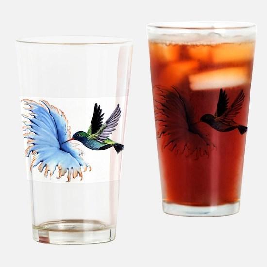 Hummingbird Blue Flower Drinking Glass