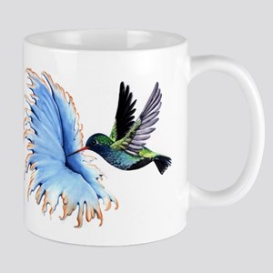 Hummingbird Blue Flower Mugs