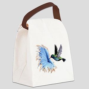 Hummingbird Blue Flower Canvas Lunch Bag