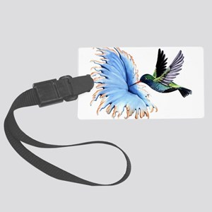 Hummingbird Blue Flower Luggage Tag