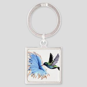 Hummingbird Blue Flower Keychains