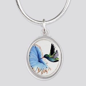 Hummingbird Blue Flower Necklaces