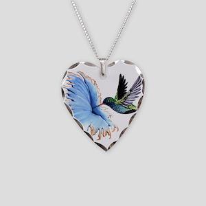 Hummingbird Blue Flower Necklace