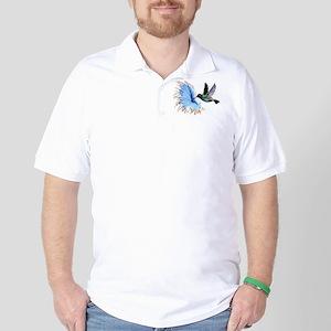 Hummingbird Blue Flower Golf Shirt