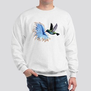 Hummingbird Blue Flower Sweatshirt
