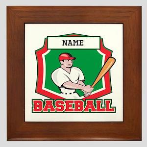Custom Baseball Batter Framed Tile