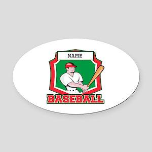 Custom Baseball Batter Oval Car Magnet