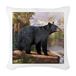 Black Bear Woven Throw Pillow
