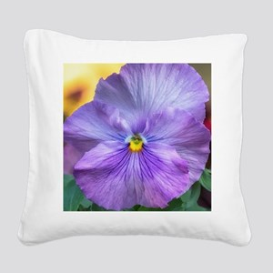 Lavender Pansy Square Canvas Pillow