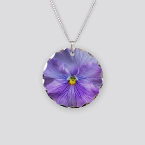 Lavender Pansy Necklace Circle Charm